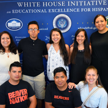 Chief of Staff Michelle Moreno and Executive Director Alejandra Ceja alongside students from Oregon State University's College Assistance Migrant Program (CAMP) at the Migrant Voices Series event in Hillsboro, OR.