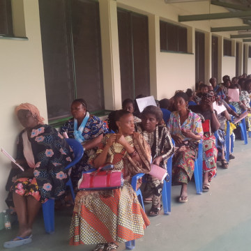 Image: Female patients wait for cervical cancer screenings at the Biamba Marie Mutombo Hospital