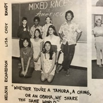 Image: Young Barack Obama in a 7th grade photo in 1974 at Punahou School, Hawaii.
