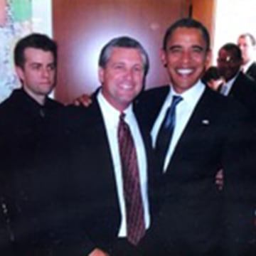 Image: Darin Maurer and then Presidential candidate Barack Obama