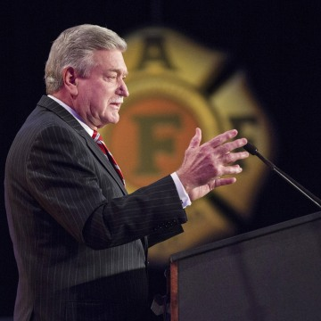 Image: President of the International Association of Fire Fighters Harold A. Schaitberger addresses delegates