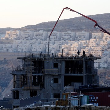 Image: A construction site is seen in the Israeli settlement of Givat Zeev, in the occupied West Bank