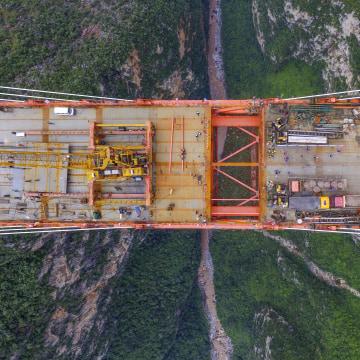 World\'s Highest Bridge Completes Connection In Guizhou