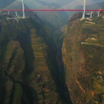 Image: Beipanjiang Bridge, near Bijie in southwest China's Guizhou province