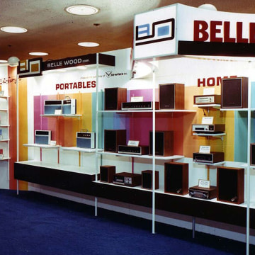 Image: In 1970, Belle Wood showcased their audio line, from home stereos to automotive equipment.