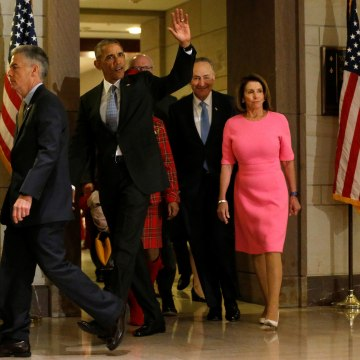 Image: Obama arrives to meet with congressional Democrats, including Pelosi and Schumer, at the U.S. Capitol in Washington