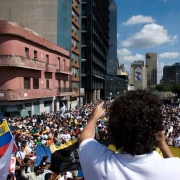 Venezuelan activist Francisco Marquez, a leader at the dawning of the student movement, speaks before a large crowd during a protest rally against then President Hugo Chavez in January 2009 in Caracas, Venezuela. Marquez is a Harvard-educated, dual U.S. c
