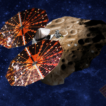 Image: Artist's illustration of the Lucy spacecraft flying by the Trojan asteroid Eurybates. Trojans are fossils of planet formation and so will supply important clues to the earliest history of the solar system.