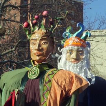 Papier Mache magi walk in the 40th annual Three Kings Day Parade organized by El Museo del Barrio.