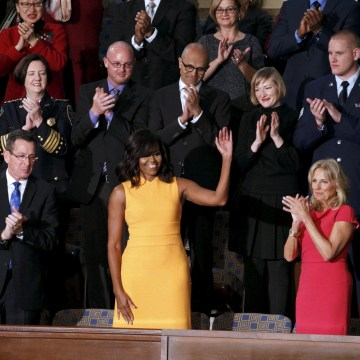 Image: First lady Michelle Obama waves from her box in the gallery while attending U.S. President Barack Obama's State of the Union address to a joint session of Congress in Washington, D.C., on Jan.12, 2016.