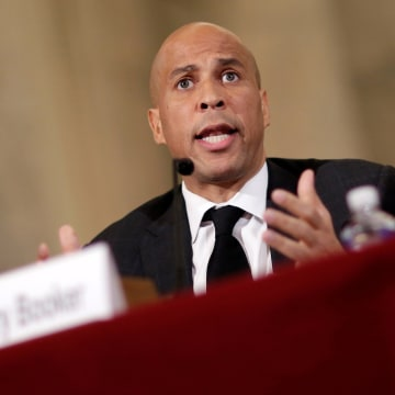 Image: Senator Cory Booker testifies to the Senate Judiciary Committee during the second day of confirmation hearings on Senator Jeff Sessions' nomination to be U.S. attorney general in Washington, U.S. on Jan. 11.