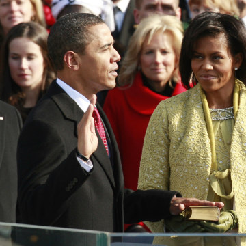 Image: Barack Obama is sworn in during the inauguration ceremony in Washington