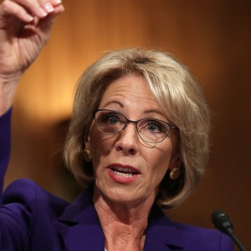 Image: Betsy DeVos testifies during her confirmation hearing Tuesday.