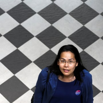 Image: Nada Chaiyajit, a Thai transgender activist, 37, poses during an interview with the Thomson Reuters Foundation at a hotel in Bangkok
