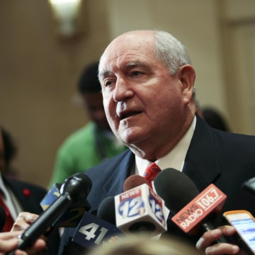 Image: Former Georgia Gov. Sonny Perdue talks with members of the media on Nov. 4, 2014 in Atlanta, Georgia.