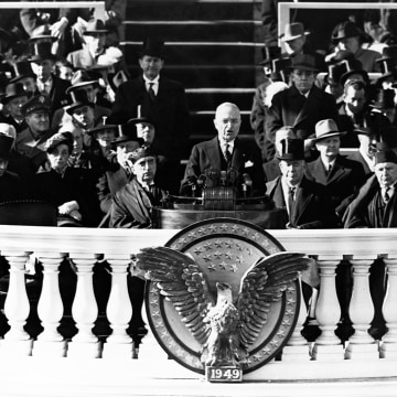 Image: President Harry Truman gives his 1949 inaugural address.