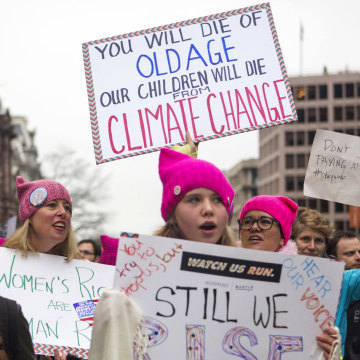 Image: People protest in the streets at the Women's March on Washington on Jan. 21, 2017 in Washington, DC.