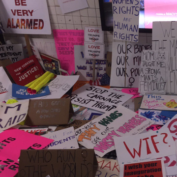 Hundreds of Signs from Women's March NYC in 30 Rock Subway Station