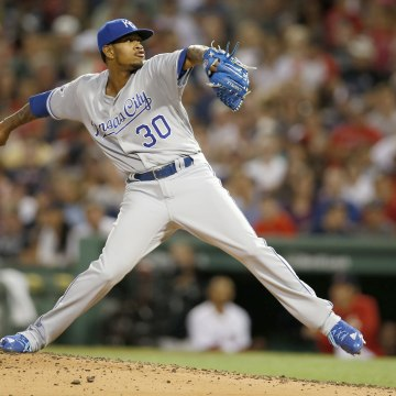 Image: Kansas City Royals pitcher Yordano Ventura delivers a pitch during the second inning against the Boston Red Sox at Fenway Park, in Boston, Aug. 28, 2017.