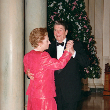 Image: British Prime Minister Margaret Thatcher dances with President Ronald Reagan