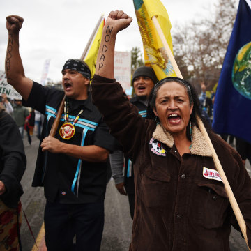 Image: Protesters march against the Dakota Access Pipeline in Pasadena