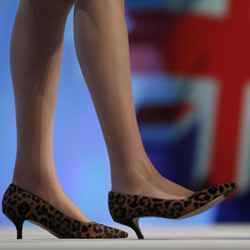 Image: Britain's Home Secretary May delivers her address on the third day of the Conservative Party Conference in Manchester