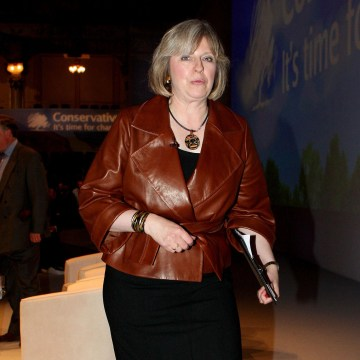 Image: Theresa May wearing leopard-print shoes