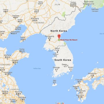 Image: A map showing the location of North Korea's Masikryong ski resort