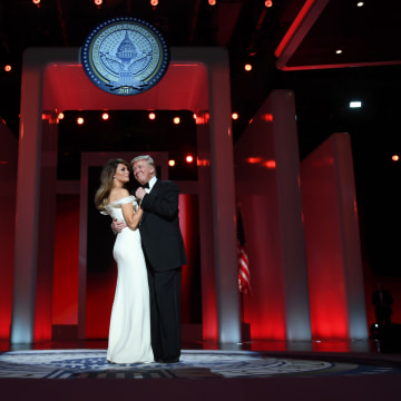 Image: President Donald Trump and the first lady Melania Trump dance at the Liberty Ball at the Washington DC