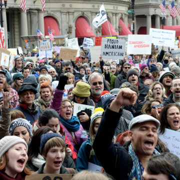 Image: Rally In Boston's Copley Square Protests Muslim Immigration Ban