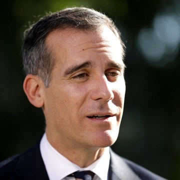 Image: Los Angeles Mayor Eric Garcetti speaks to reporters in Los Angeles, California on Jan. 25.