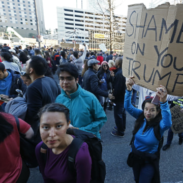 Image: Protest against President Trump's immigration ban in Houston, Texas, USA - 29 Jan 2017