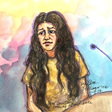 Image: Noor Salman, the wife of Pulse nightclub shooter Omar Mateen, is seen in this courtroom sketch after appearing in federal court on Jan. 17, 2016, in Oakland, California.