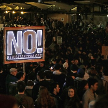 Image: Protestors against a scheduled speaking appearance by polarizing Breitbart News editor Milo Yiannopoulos fill Sproul Plaza on the University of California at Berkeley campus on Feb. 1, 2017, in Berkeley, Calif.