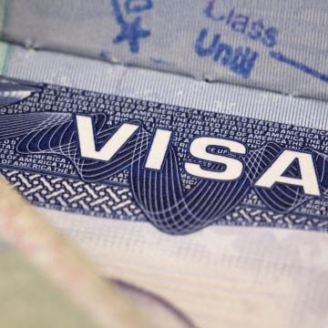 Image: A segment of a US visa.