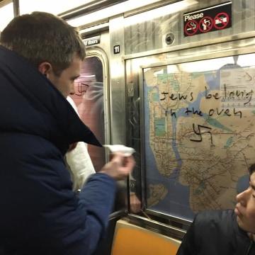 Image: Nazi graffiti on a New York City Subway car
