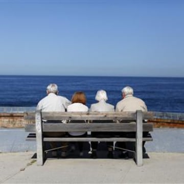 File photo of elderly couples viewing the ocean and waves along the beach in La Jolla