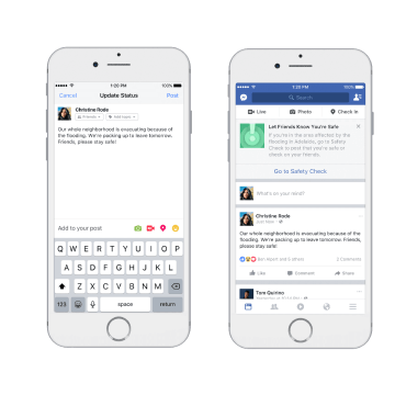 Image: Through Safety check on Facebook, people can ask and offer help within their community in times of crisis.