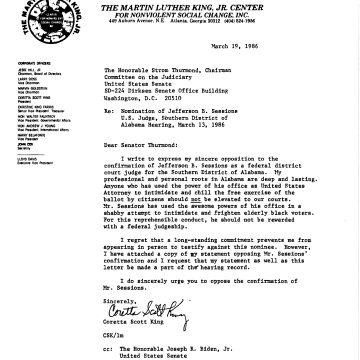 Image: Coretta Scott King wrote a letter in 1986 against the confirmation of Jeff Sessions as a federal judge