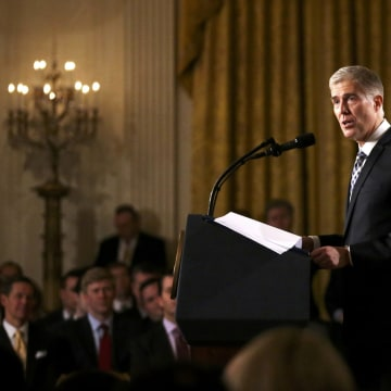 Image: Judge Neil Gorsuch speaks after President Trump nominated Gorsuch to be an associate justice of the U.S. Supreme Court at the White House in Washington, D.C. on Jan. 31.