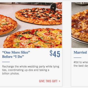 screenshot of the Domino's Pizza wedding registry site.