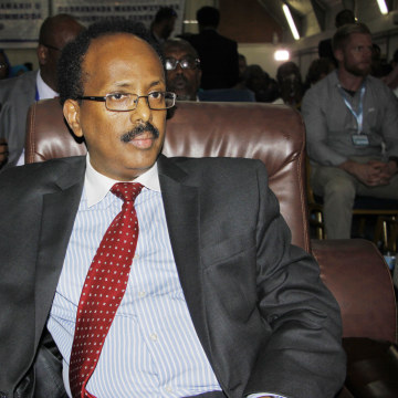 Image: New Somali President Mohamed Abdullahi Farmajo sits in the election hall after being elected in Mogadishu, Somalia on Feb. 8.