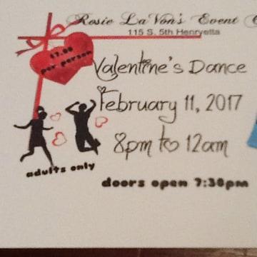 Image: The invitation to a Valentine's Dance at Rosie LaVon's in Henryetta, Oklahoma