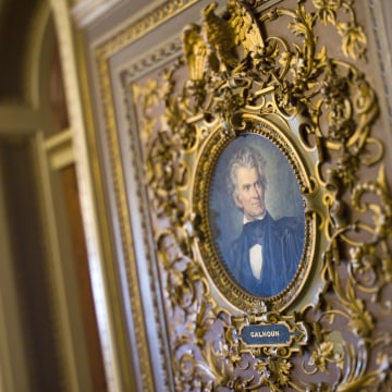 Image: A portrait of John C. Calhoun, the 7th vice president of the United States of America, hangs along a wall in the Senate Reception Room, one of the Capitol's most richly decorated public rooms.
