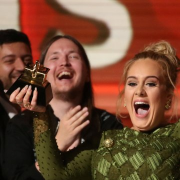 "Image: Adele breaks the Grammy for Record of the Year for ""Hello"""