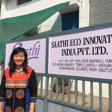 Kristin Kegetsu, co-founder of Saathi Pads, poses in front of the company's factory in Ahmedabad, India.