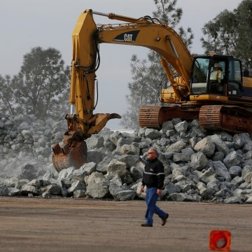 Image: Rock is prepped to be used on the Lake Oroville Dam after an evacuation was ordered for communities downstream from the dam, in Oroville, California