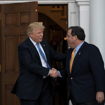 Image: President-elect Donald Trump and New Jersey Governor Chris Christie shake hands before their meeting on Nov. 20, 2016 in Bedminster Township, N.J.
