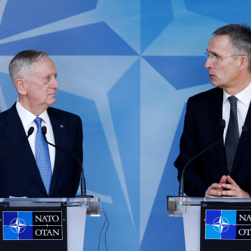 Image: Defense Secretary Mattis and NATO Secretary-General Stoltenberg brief the media during a NATO defence ministers meeting in Brussels