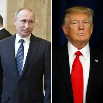 Image: (Left) Russian President Vladimir Putin at the Moscow State University in Moscow, Russia on Jan. 25. (Right) President Donald Trump in Washington, D.C. on Jan. 25.